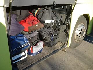 Gepäck im Bus